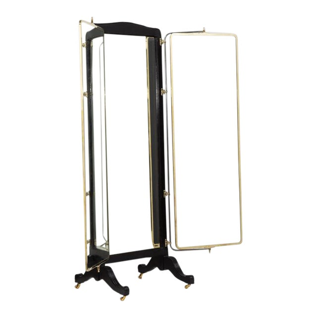 French Brass and Ebonised Wood Mirrored Screen Circa 1890 For Sale