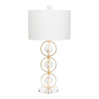 White and Gold Anderson Table Lamp For Sale