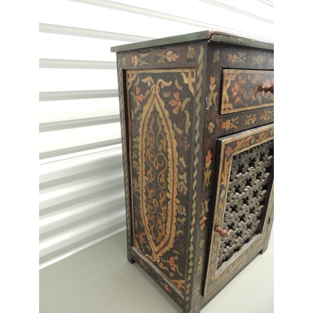 Boho Chic Black Hand painted vintage Indian night stand with Drawer For Sale - Image 3 of 5