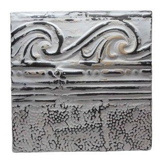 Antique White Wave Border Tin Panel For Sale