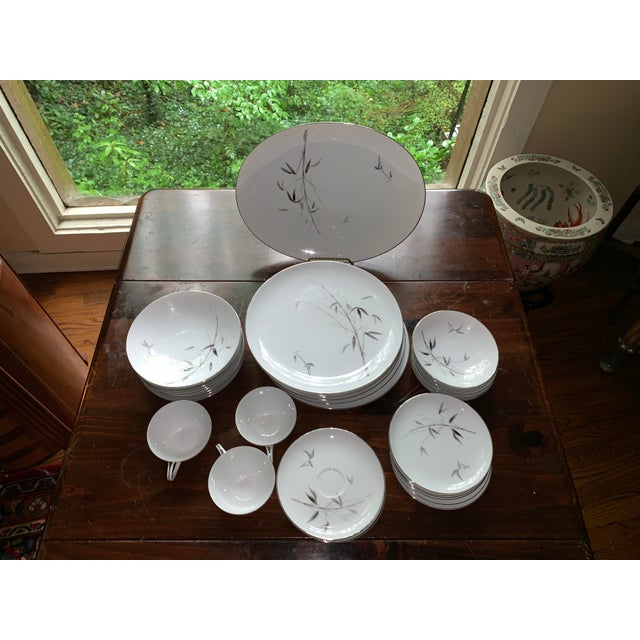 Sango Bamboo Knight Grey Bamboo Platinum Trim-Partial Dinnerware Set - 41 Plates, Reduced For Sale - Image 10 of 12