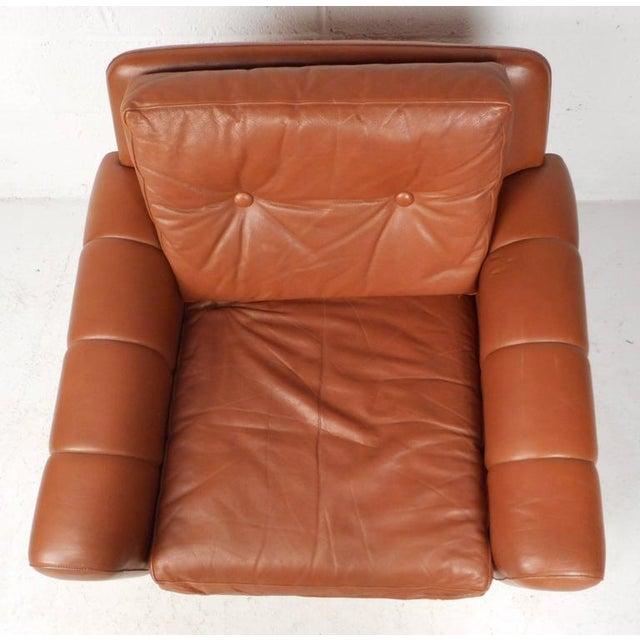 mid century modern danish leather lounge chair chairish