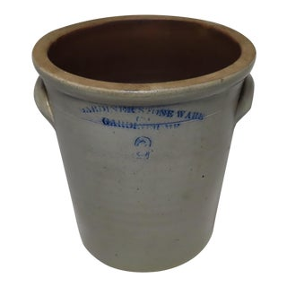 Antique American Stoneware 2 Gallon Bucket From Maine For Sale