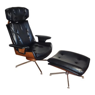 Mid-Century Modern Lounge Chair and Ottoman- 2 Pieces For Sale