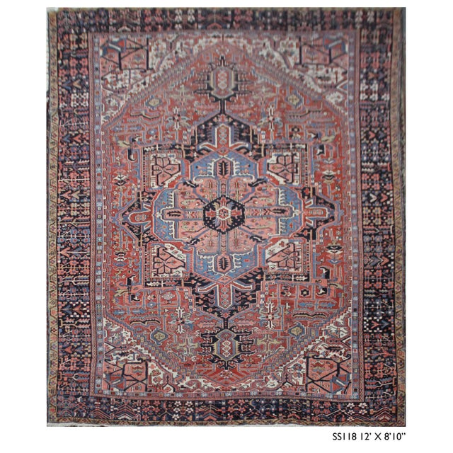 Textile Simi Antique Heriz Rug - 8′10″ × 12′ For Sale - Image 7 of 7