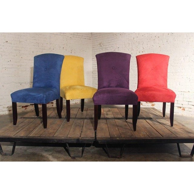 Bold Amp Bright Ultra Suede Dining Chairs Set Of 4 Chairish
