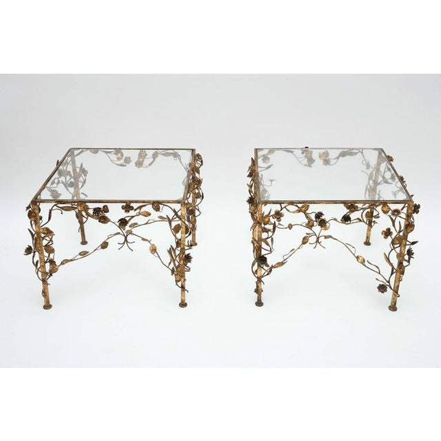 Gorgeous foliage style Hollywood Regency gold and glass side tables, 1950s, USA.