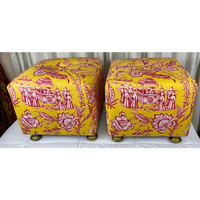 Matching vintage footstools freshly reupholstered with bright yellow and red Chinoiserie Fabric. Very sturdy, functional...