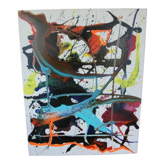Colorful Abstract Expressionist Acrylic on Canvas