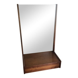 Mid Century Scandinavian Wall Mirror With Drawer For Sale