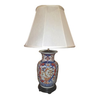 Vintage Hand Painted Asian Vase Mounted as aTable Lamp in Great Imari Colors For Sale