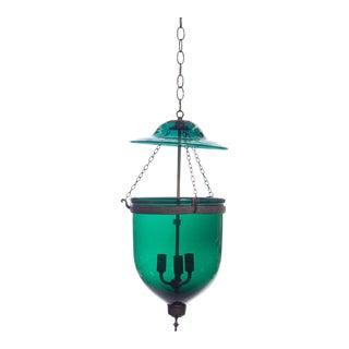 Vintage Large Green Glass Bell Jar Pendant Light For Sale