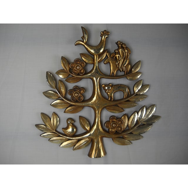 """Folk Art Syroco """"Tree of Life"""" Plaque For Sale - Image 3 of 8"""