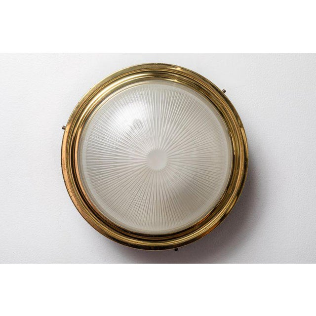 1960s Sergio Mazza Brass & Glass Wall or Ceiling Lights for Artemide - A Pair For Sale In Los Angeles - Image 6 of 13