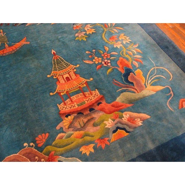 """Art Deco 1920s Antique Chinese Art Deco Rug- 9'0"""" X 11'9"""" For Sale - Image 3 of 6"""