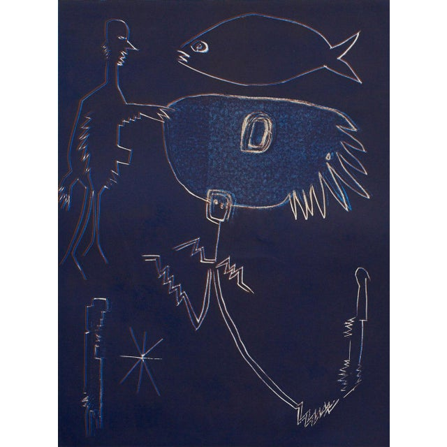 Wyona Diskin, Blue Man with Fish circa 1987 For Sale