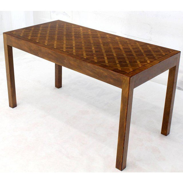Italian Parquet Marquetry Burl Walnut Top Parsons Desk Writing Table Two Drawers For Sale - Image 10 of 10