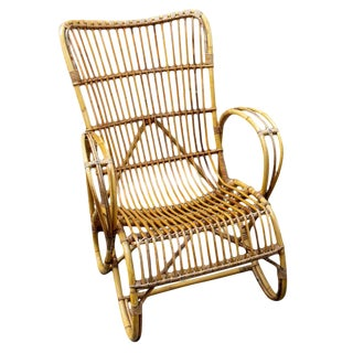 Vintage French Rattan Armchair With Tall Back For Sale