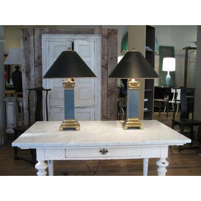Pair of Brass and Lacquer Column Lamps by Chapman For Sale - Image 10 of 11