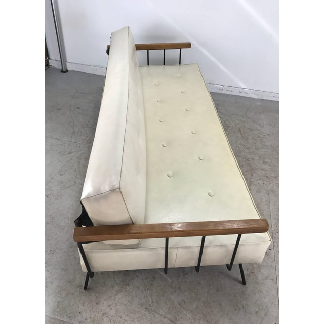 White Classic Modernist Iron and Wood Sofa/Daybed in the Manner of Weinberg-Salterini For Sale - Image 8 of 10