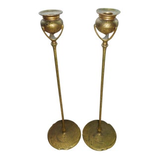 Antique Tiffany Studios Bronze Candlesticks With Gold Gilt - a Pair For Sale