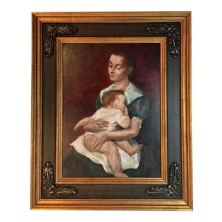 Vintage Oil Painting Portrait of Mother and Child by Xavier Barile