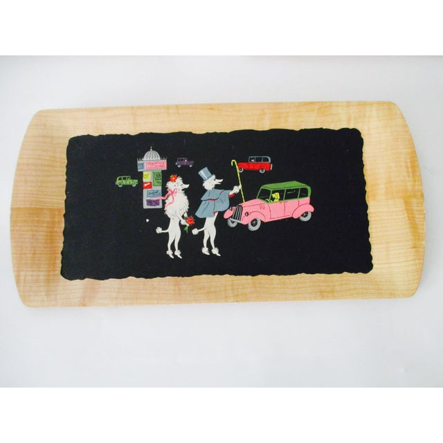 Wood French Serving Tray - Set of 4 Poodles Dogs French Poodle Fifi and Pepe For Sale - Image 7 of 9