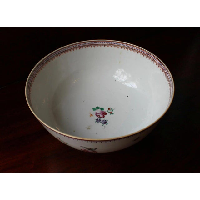 Asian 1770-90 Antique Neoclassical Chinese Export Punch Bowl For Sale - Image 3 of 7