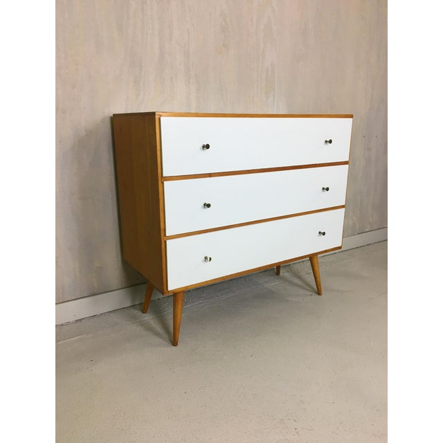 Pair of Paul McCobb Style Dressers with Painted Drawers - Image 2 of 7