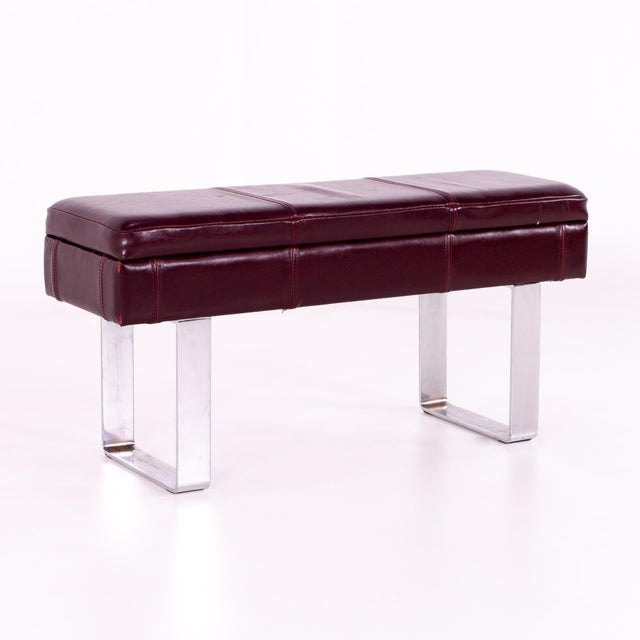 Red Mid Century Milo Baughman Style Maroon Leather Bench For Sale - Image 8 of 8
