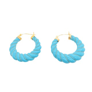 14k Gold Carved Persian Turquoise Hoop Earrings For Sale