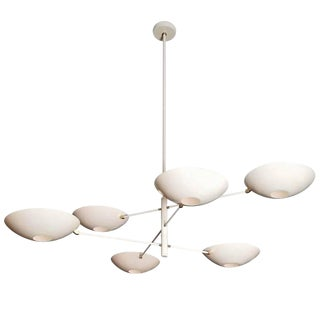 Blueprint Lighting Large 'Counterbalance' Chandelier in White Enamel + Brass For Sale