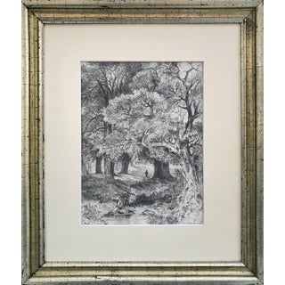 Antique 19th Century Graphite Landscape Drawing For Sale