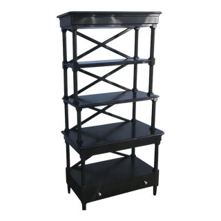 Neo Classical Black Painted Wood Kitchen Server Baker's Rack For Sale