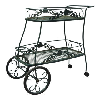 Meadowcraft Dogwood Green Wrought Iron Tea Cart