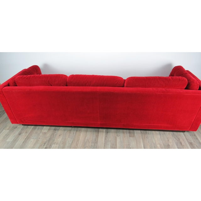 """1960s Mid-Century Modern Lipstick Red Button-Tufted """"Cord"""" Velvet Sofa For Sale - Image 11 of 13"""