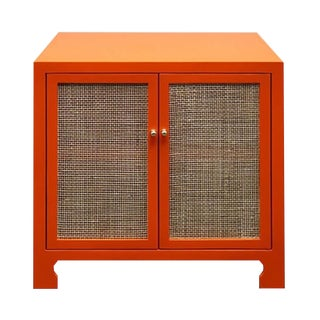 Worlds Away Alden Cabinet - Orange Matte Lacquer With Cane Cabinets For Sale