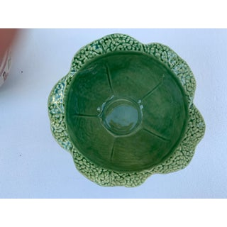 Vintage Modern Majolica Green Cabbage Leaf Bowl Bordallo Pinheiro Preview
