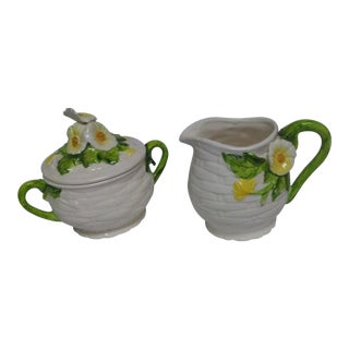 Lefton Ceramic Creamer & Sugar Bowl Set - 3 Pc. Set For Sale