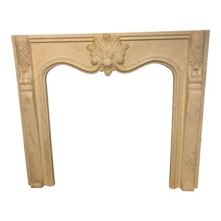 French Antique White Marble Fireplace Surround Mantel For Sale