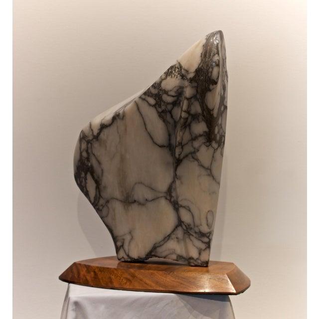 Modernist Marble Sculpture on Walnut Plinth Base For Sale - Image 10 of 12