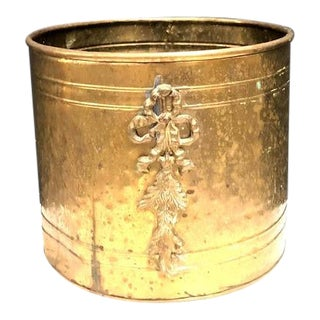 1970s Hammered Brass Planter with Flower Bouquet Detail For Sale