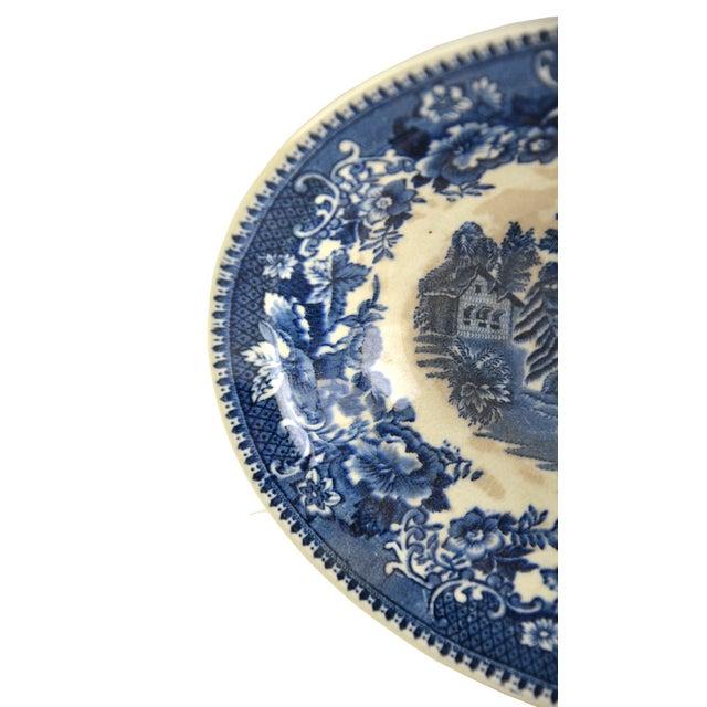 Vintage Indigo Blue Toile Serving Bowl - Image 4 of 6