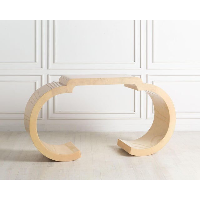 Ivory Curved Parchment Console Table For Sale - Image 8 of 8
