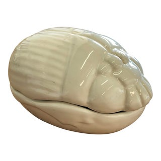 Mid-Century Modern Bellini White Ceramic Scarab Beetle Trinket Storage