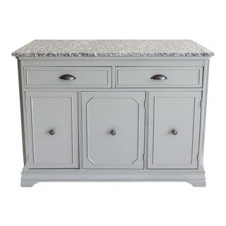 Vintage Gray Painted Buffet With Granite Top