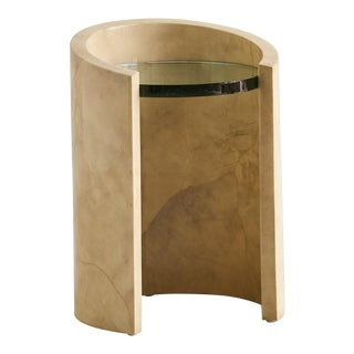 1970s Lacquered Parchment Side Table by Ron Seff For Sale