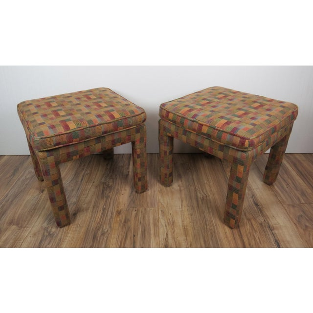 Contemporary 1980s Vintage Multicolor Parsons Stools - a Pair For Sale - Image 3 of 13