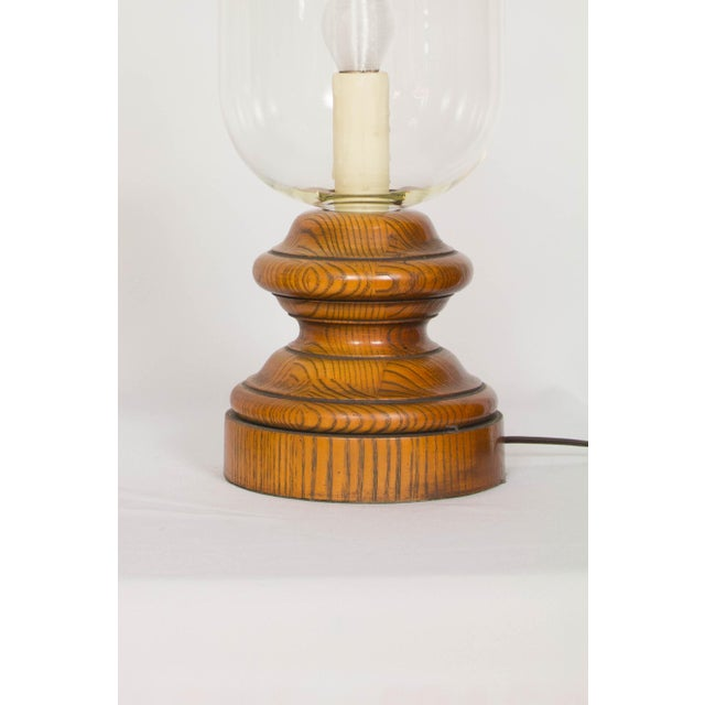 20th Century Americana Glass and Wood Hurricane Lamps - a Pair For Sale - Image 4 of 5