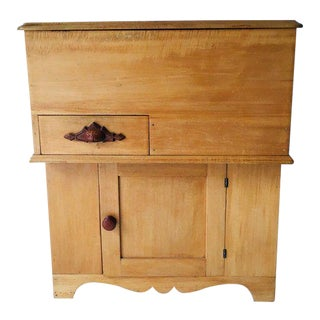 Antique Country Tiger Maple Dry Sink / Commode For Sale